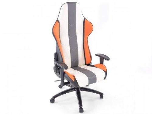 Preisvergleich Produktbild Bürostuhl Sportsitz Denver mit Armlehnen Kunstleder orange / weiß / grau