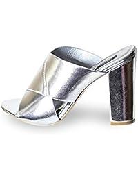 36d99508d375 Mifani-Silver Mule Block Heels Size  5