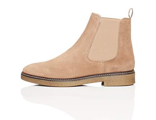 Amazon-Marke: find. Damen Chelsea Boots aus Glattleder, mit Kreppsohle, Grau Taupe), 36 EU