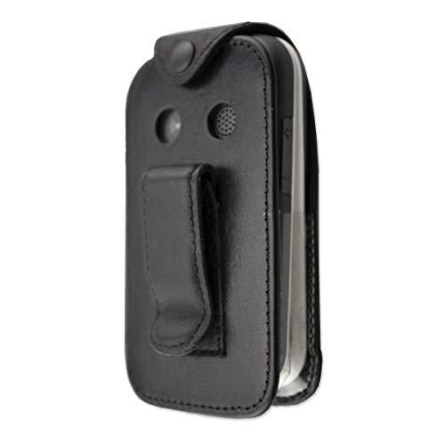 caseroxx Ledertasche mit Gürtelclip für Doro 7060/7070 aus Echtleder, Handyhülle für Gürtel (mit Sichtfenster aus schmutzabweisender Klarsichtfolie in schwarz)