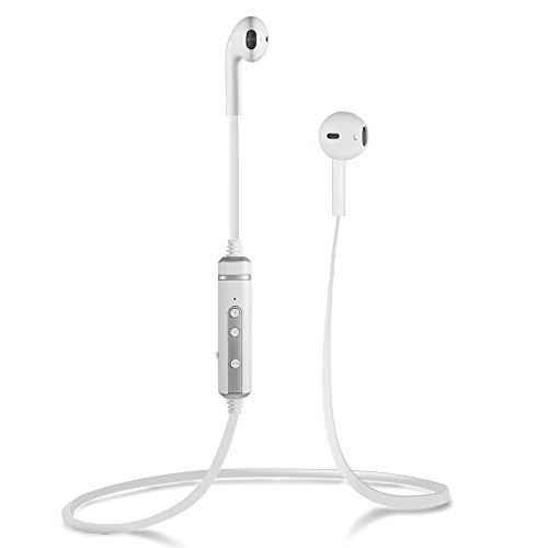Nuova versione Bluetooth 4.1 sport wireless cuffie auricolari cuffie auricolari con aptX, HD mic chiamata vivavoce per iPhone, Samsung, LG e altri smartphone in bianco (Auriculares + 1 par de fundas de silicona)