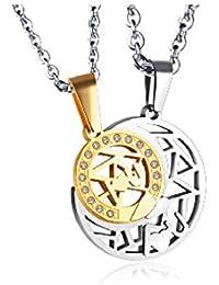 a155a088b9be GUHUA Luna romántica con Collar Colgante de Media Luna para Amante Diseño  Hueco con Incrustaciones de
