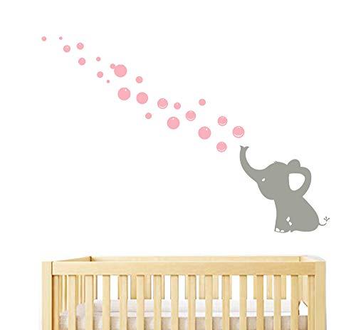 Sayala Wandtattoo 2er-Set Elefanten Bubbles Wandsticker Wandaufkleber -Kinderzimmer Zoo Tiere Wandsticker- Wandbordüre Kinderzimmer/Babyzimmer mit Elefanten (1 Elefanten)