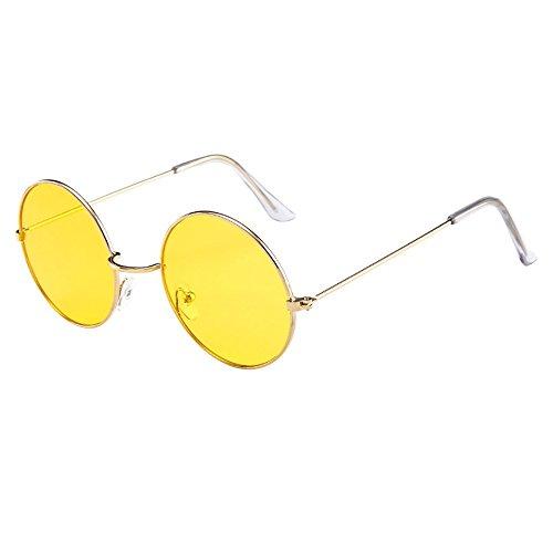 Lazzboy Frauen Männer Vintage Retro Brille Unisex Fashion Circle Frame Sonnenbrille Eyewear Klassische Lennon Runde Polarisierte Mit Schutz Paar Hippie Stil Kreis Farbige Gläser(H)