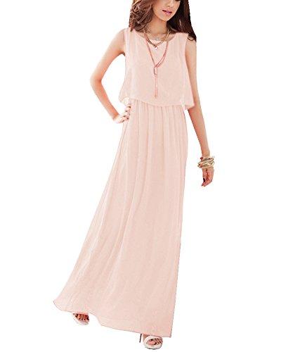 Damen Elegant Kleider A-line Chiffon Cocktailkleider Sommerkleid Ärmellos Strandkleid Kleider Lang Licht Pink M -