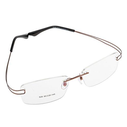 MagiDeal Brillenfassung Randlos Memory Metall Brillengestell, Ultraleicht, elegantes Design - Gold