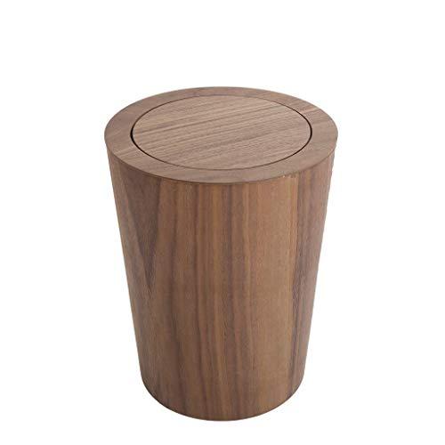 Zoe home- Abfalleimer Papierkorb for Altpapier - Hergestellt aus Holz, Leichte Papierkorb-Papierkörbe mit Klappdeckel (Color : Brown)