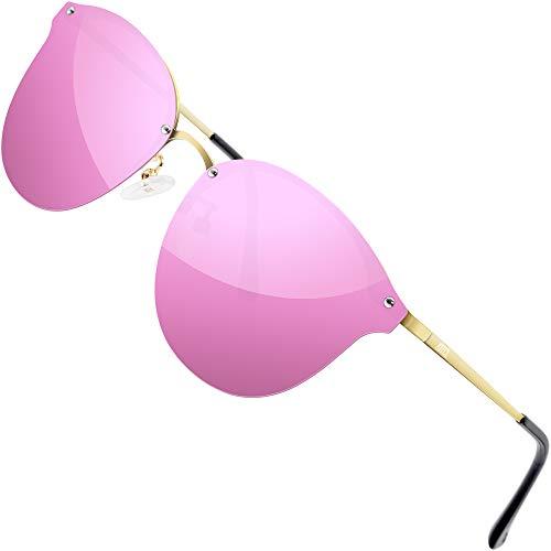 ATTCL Randlos Vintage Polarisierte Sonnenbrille Damen UV400 Schutz Ultraleicht Rahmen 1155 Pink