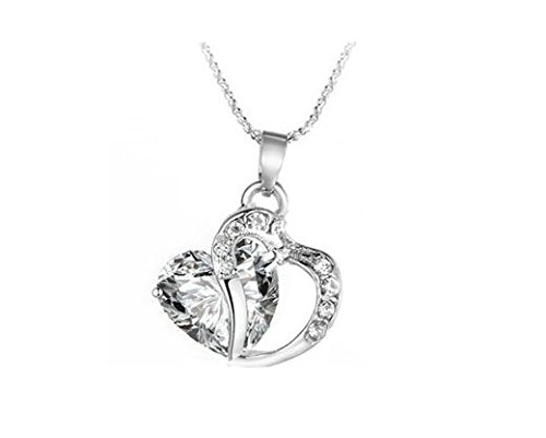 Liroyal Double Hearts Crossed Silver Pendant Faux Crystal Sterling Necklace