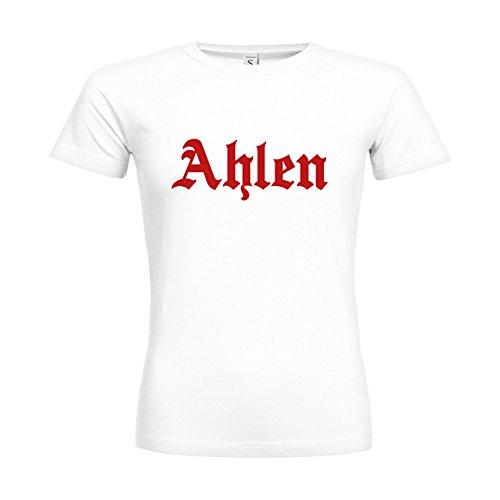 dress-puntos Woman T-Shirt Ahlen Schriftzug 20drpt15-w00961-42 Textil white / Motiv rot / Gr. XXL