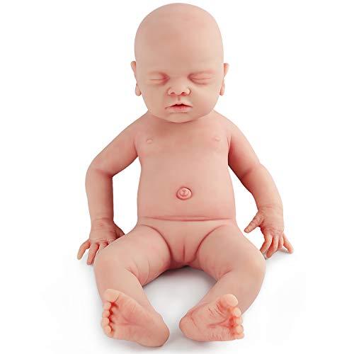 Vollence Poupée Reborn bébé endormi réaliste 46 cm, Yeux fermés, sans PVC,...