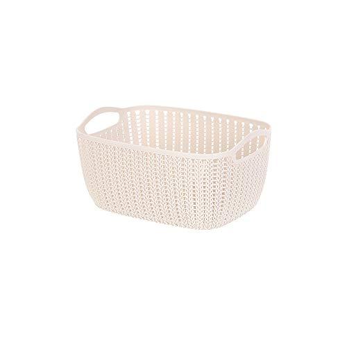 Miniso Small Plaited Rectangular Storage Bucket (Khaki)