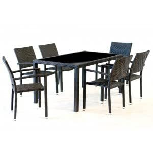 salon de jardin en r sine pour 6 personnes table rectangulaire 150 cm jardin. Black Bedroom Furniture Sets. Home Design Ideas