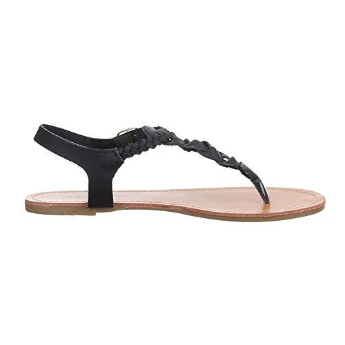Damen Schuhe, B27L-SF, SANDALEN ZEHENTRENNER Schwarz