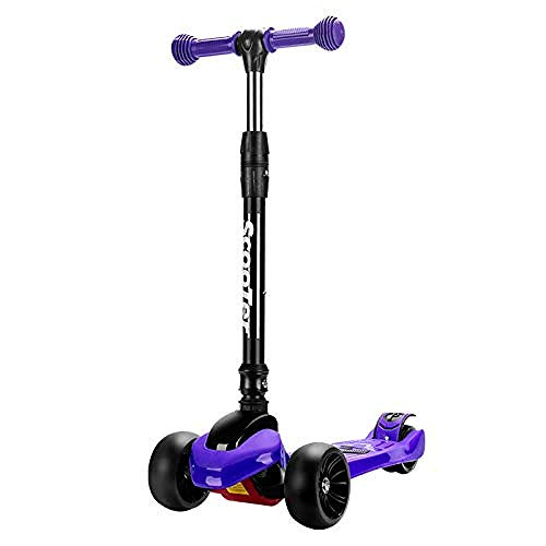 WENZHEN Flicker Scooters Children Scooter 3 Wheels Aluminum Alloy high Strength axle Outdoor Sliding Toy Adjustable Height Suitable for Children@Purple -