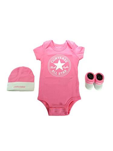 Converse Babykleidung Erstausstattung Baby Geschenkset 3er Gift Set Rosa 0-6 Monate (Gestrickte Converse)