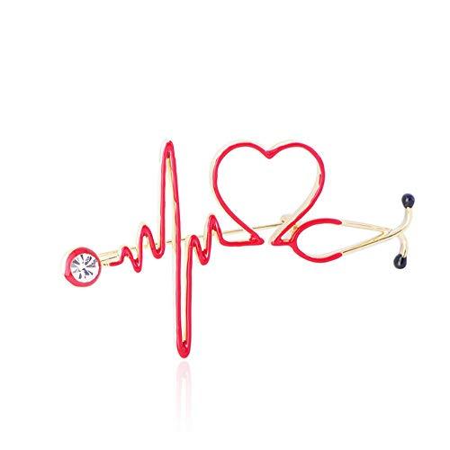 ZWLZQ Broschen Brosche Emaille Liebe Herz Stethoskop Für Frauen Männer Kristall Herzschlag Form Arzt Krankenschwester Medizinische Schmuck Abzeichen