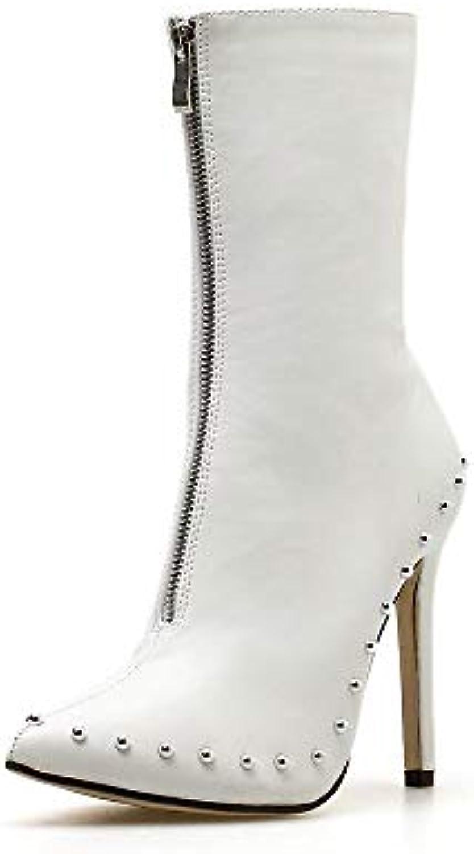 Sixminyo Stivali da Donna, Rivetti, Stivali con Cerniera (Coloree   bianca, Dimensione   39) | Nuove varietà sono introdotte  | Uomini/Donne Scarpa