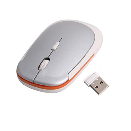 MagiDeal Silver 2.4GHz Ultrathin USB 2.0 Wireless Optical Mouse Mice 15 Meters Range Intelligent Connectivity Plug & Play