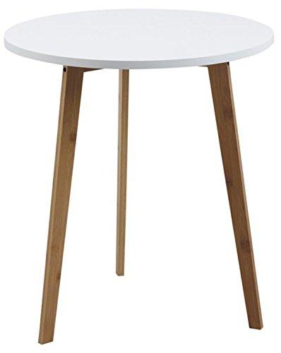 PEGANE Table d'appoint Ronde en Bois lamellé collé et MDF laqué Blanc - Dim : Ø 50 x H 55 cm