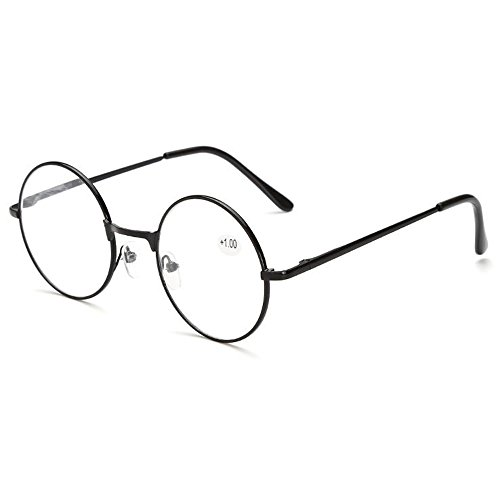 Skitic Retro Runde Metall Lesebrille Brillenrahmen Damen Herren Lesehilfe Stärke Fein Metallrahmen Brille + 1,0 / + 1,5 / + 2,0 / + 2,5 / + 3,0 / + 3,5 / + 4,0 (+1,0)