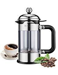 ELE KING Kaffee- und Teebereiter, 4-stufig, gefiltert, europäischer Stil, 304 Edelstahl, beste Kaffeekanne mit deutschem Glas (51 oz)