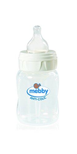 Mebby 92614 Biberon Step 1+2, Anti-Colica con Tettarella Silicone, 180 ml
