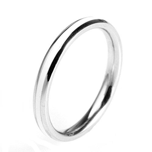 BeyDoDo Modeschmuck Edelstahlring Ring für Damen Edelstahl Rund Vertrauens Ehe Damenring Ring Silber Ringgröße 57 (18.1)