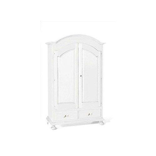 EsteaMobili Armoire 2 Portes 2 tiroirs Art Pauvre laqué Blanc Mat x Chambre de lit – comme Photos