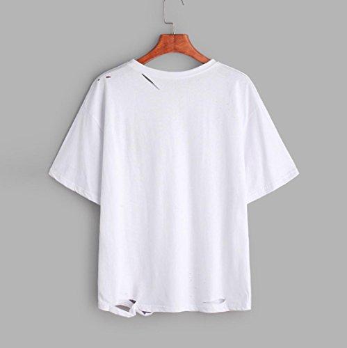 T-shirt da stampa rosa donna Vovotrade Cotone miscelato Camicetta manica corta in estate bianca