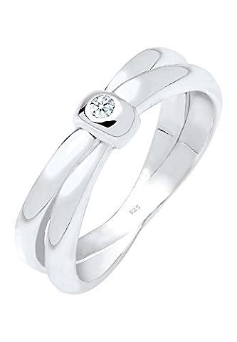 Diamore Damen-Ring 925 Silber Diamant (0.03 ct) weiß Brillantschliff Gr. 52 (16.6) - 0602370615_52 (0,03 Ct Diamant-set)