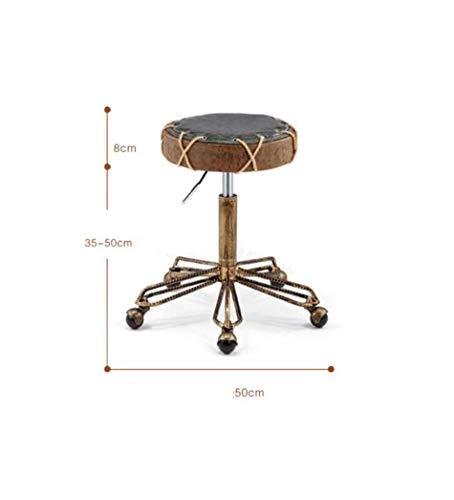 VYN Stuhl Retro Swivel Pulley Barber Friseur Friseurstuhl Werkbank Bank Hocker Barhocker Beauty Chair Swivel Chair Lift Höhe 35-50Cm,A, - Swivel Pulley