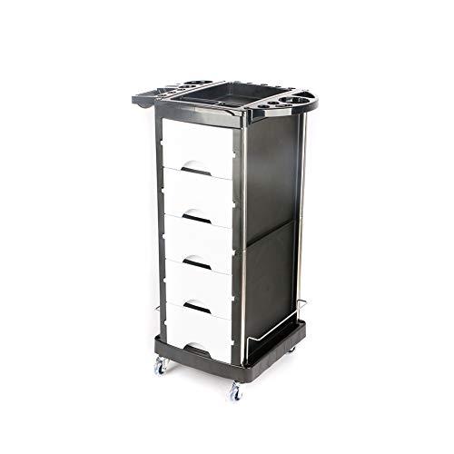 5 Schubladen Friseur Salon Trolley Friseur Mehrzweckwagen Beauty Spa Rolling Storage Cart Black,White - 5 Schublade Storage Cart