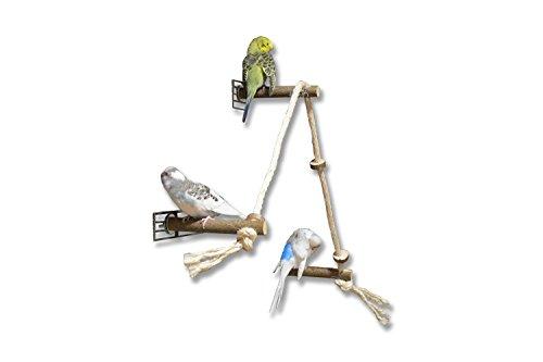 Tolles Sisal Kletterseil bzw. Sitzseil mit 3 Naturholz Sitzstangen und leckeren Knabberringen - ein außergewöhnliches Vogelspielzeug. Ideal im Vogelkäfig als Vogelspielzeug oder Vogelspielplatz. Kein ACRYLspielzeug