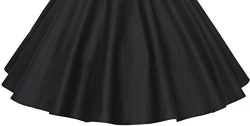 Aivtalk Robe de Soirée Rockabilly Rétro Vintage Robe Années 50's 60's Manches Court avec Ceinture - XS-XL - 3 Couleurs Noir