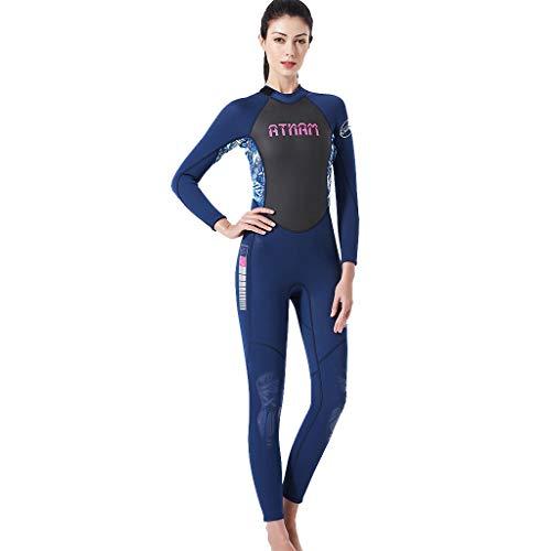 MOTOCO Damen Ganzkörperansicht Badeanzug Overall Wetsuit Surfanzug Lange Ärmel Tauchanzug - Strand Watersport UV Schutz Schwimmanzug (M,Blau)