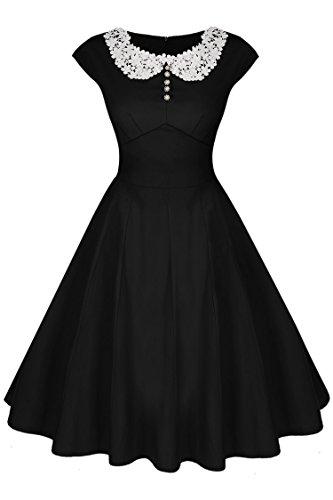 Acevog Mujer Vintage Vestido Años 71s Audrey Vestido de Fiesta Cóctel Falda Plisada Retro Rockabilly A-Line