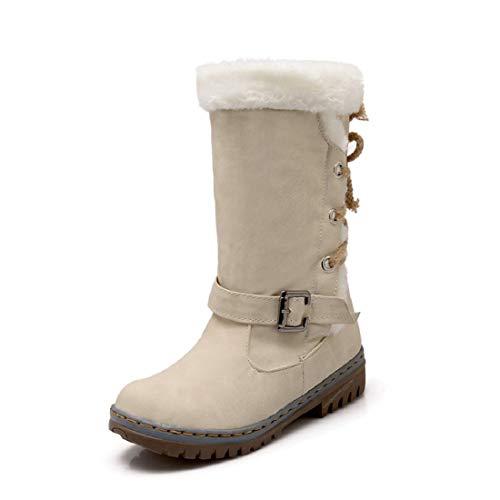 NEOKER Winterstiefel Damen Gefüttert Schneestiefel Bequeme Schuhe Blockabsatz Outdoor Schwarz Sneaker schnüren Langschaft Stiefel Beige 43