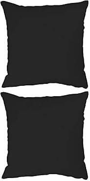 Stylie Soft Plain Colored Cushion, 45x45 cm, Black, 2 Pcs