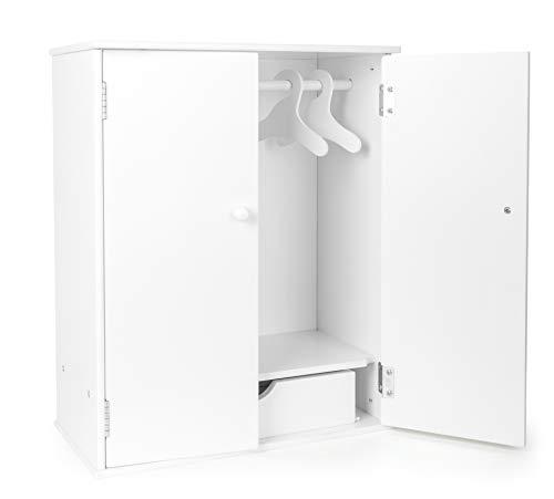 small foot 11213 Puppenschrank in modernem, weißen Design, fördert den Ordnungssinn, mit Kleiderstange, Schublade und Kleiderbügel, schöne Ergänzung zum Puppen-Zubehör Spielzeug (Puppen-kleider Schrank)