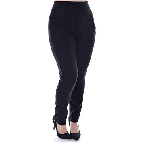 Damen Stretch Stoff Loose Hose Leggings Treggings Übergröße Jeggings Röhre 20931, Hosengröße:M / L;Farbe:Schwarz