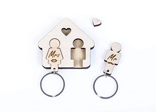 SURISE Schlüsselbrett Mr Mrs - Holz - Geschenk für Hochzeit, Geburtstag und Einzug in Wohnung/Haus