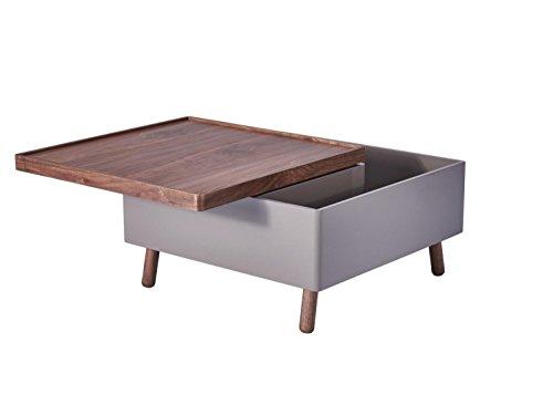 CAGUSTO Couchtisch Ludvig Wohnzimmertisch Nussbaum Holz grau Hochglanz 80 x 80 cm, Tischplatte schwenkbar, quadratisch, viel Stauraum, Sofatisch, Beistelltisch