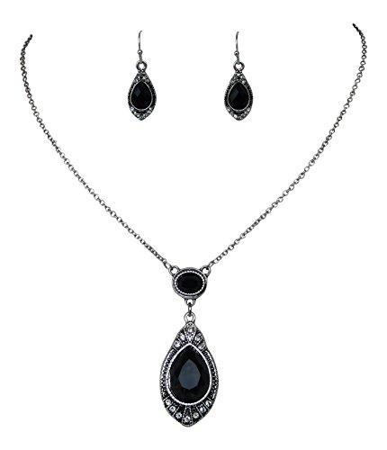 Trachtenschmuck Dirndl Collier Set - Kette & Ohrhänger - antikstil - schwarz Crystal