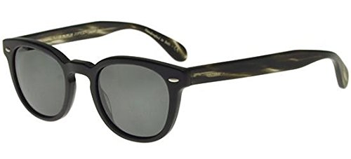 Oliver Peoples - SHELDRAKE SUN OV 5036S, Rund, Acetat, Herrenbrillen, SEMI-MATTE BLACK EBONYWOOD/MIDNIGHT EXPRESS(1570/P2), 47/22/145