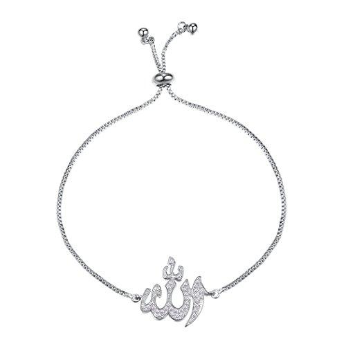 Suplight Damen Armband Muslim Gott Allah Charm Armkette platiniert Zirkonia Armschmuck Fantasie Schmuck Weihnachtsgeschenk für Mädchen, silber, 27cm lang verstellbar