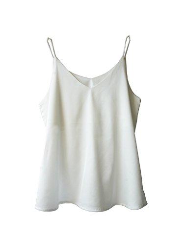 Wantschun Damen Satin Silk Weste Bluse Tank Tops Shirt Cami Spaghetti Träger Camisole Vest V-Ausschnitt Weiß M (Silk Tank Kleid)