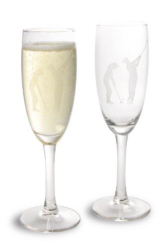 ser 2-er-Set von LEONARDO,Trinkgläser Golf mit Golf-Gravur,hochwertig gravierte Golf Champagnergläser im Set,Golfgeschenke ()