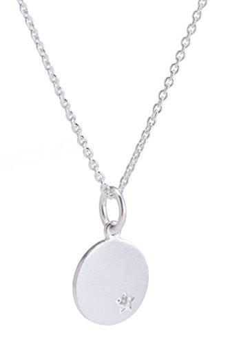 Pernille Corydon Damen Halskette echter Diamant 0,01 ct runder Kreis Anhänger 925er Silber - N941s Diamant-runder Anhänger