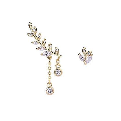 OKAJEWELRY Leaf Ear Cuff Sterling Silver Sweed Stud Earrings Post 1 Pair (Yellow)